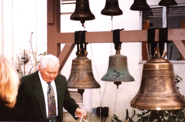 "E.Y. Orloff is the first to ring ""Nicholas,"" our 240 kg bell"
